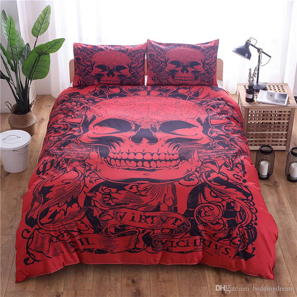 Red Skull Printed Bedding Set King Size Fahion Cool Duvet Cover Queen 3D Home Textile Double Single Bed Set With Pillowcase 3pcs
