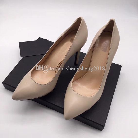 Livraison gratuite Alors Kate style imperméable à l'eau 3cm 11cm de talons hauts Rouge Bas Nu couleur cuir véritable point Toe Pompes Rubbe chaussures de mariage