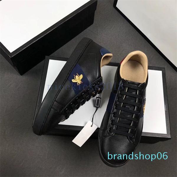2020 Hommes Femmes Chaussures Casual Mode Marques de Luxe Designer Chaussures à lacets Chaussures de course Vert bande rouge en cuir noir brodé Bee hj1