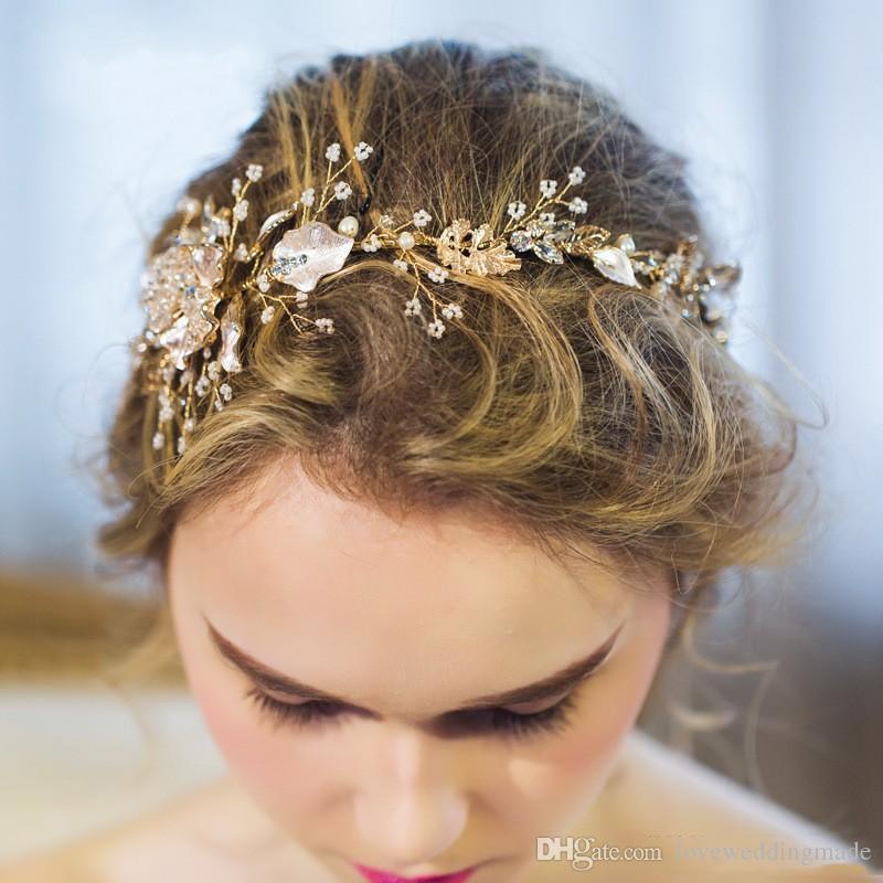 Luxuery Wedding Tiara For Bridal Wedding Party 2019 Popular Gold Mini Flower Rhinestone Hair Wedding Party Hair Accessories