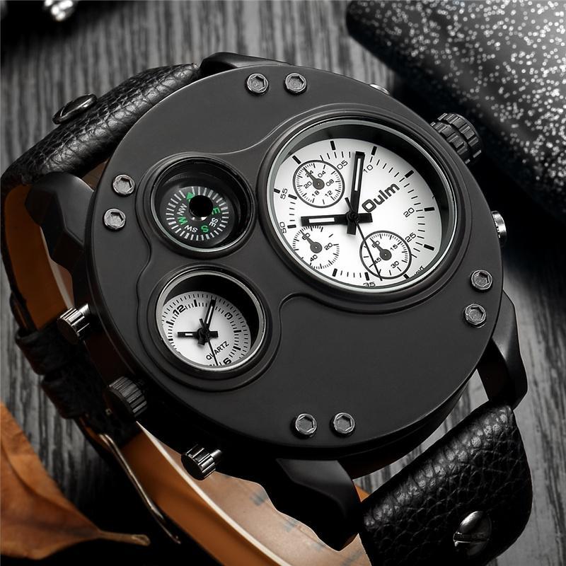 Herrenuhren Oulm Männer Sportuhren Zwei Zeitzonen Armbanduhr Dekorative Kompass Male Quarz-Uhr relogio masculino