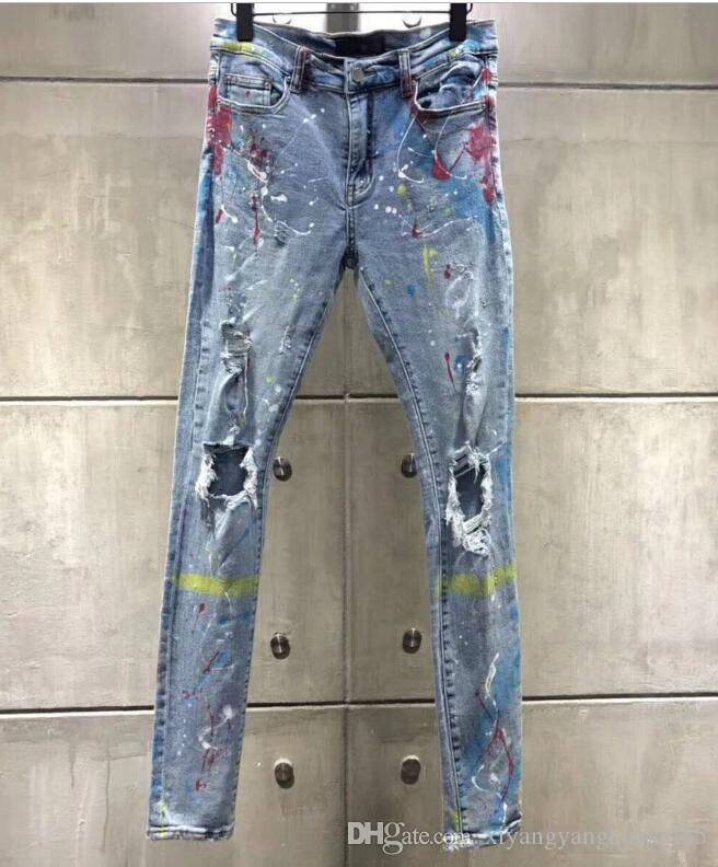 Novo sólido estilo clássico MODA EM LINHA RETA FIT CHEGADA MOTOCICLISTA DE GANGA CALÇA DISTRESSED água zebra diamante listras HOT jeans tamanho 29-40