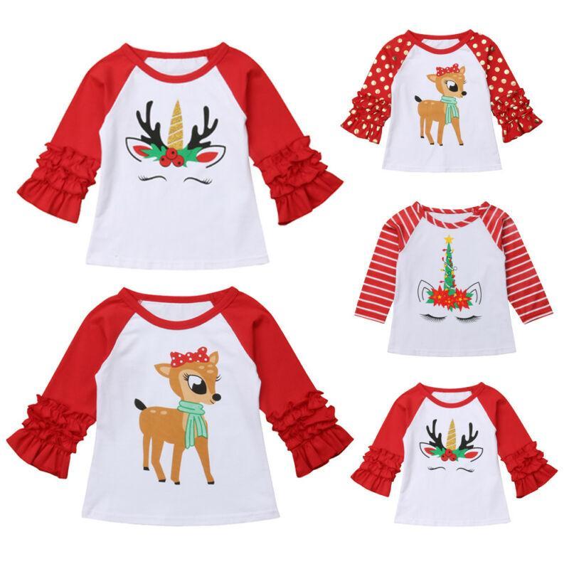 Bebek Çocuk Erkek Bebek Kız Uzun Kollu Giyim tişört Noel Partisi Fawn Baskı Tees Kıyafet Noel 1-5Y Tops