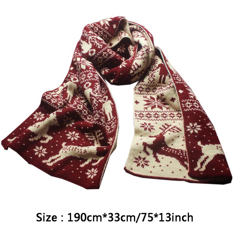 Aqueça o lenço de Inverno para o homem Mulher de Natal Cachecol Moda Snowflake Elk Imprimir Cachecol Engrossar Wool Knit Scarves Christmas Gift DBC VT0993