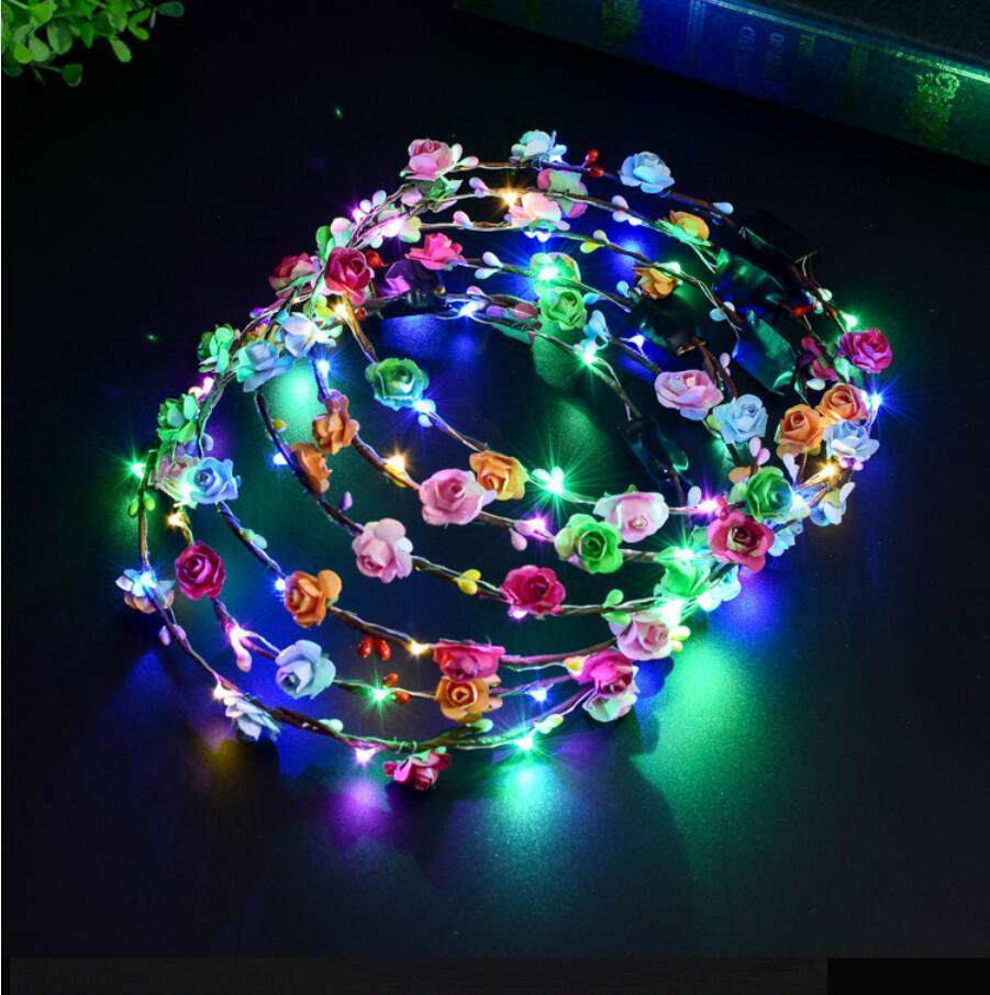 Clignotant LED de Bandeaux Scrunchie Glow Fleur Couronne Bandeaux Lumière Rave Party Floral cheveux Garland lumineux main décorative DHA353