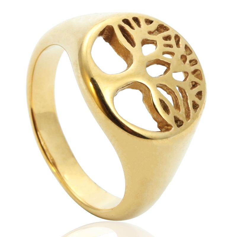 Gold Silver Hollow Out Stainless Steel Lady's Religious Tree Of Flower Ring Egypt Tree Of Life Ring Jewelry Items For Lady Women
