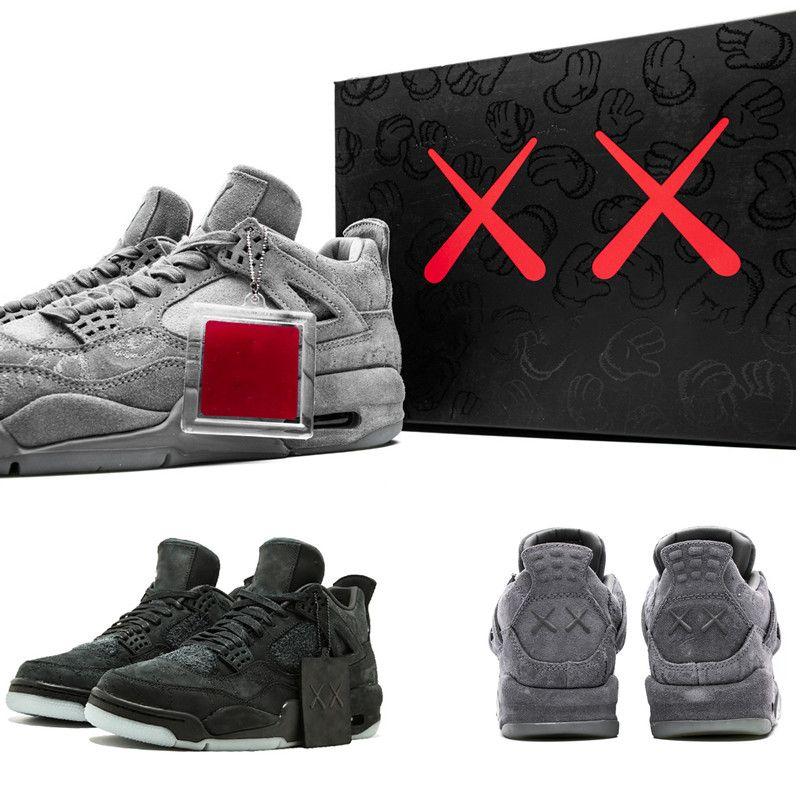 4 Kaws Cinza frio fulgor de Mens Basketball Travis Scott X S White Blue Black Sports Sneakers Outdoor Shoes