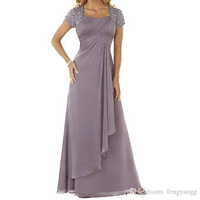 2020 Elegant Mother Of The Bridal Dresses With Short Sleeves Scoop Neck Women Formal Party Gowns Pleats Floor Length Wedding Guest Dresses