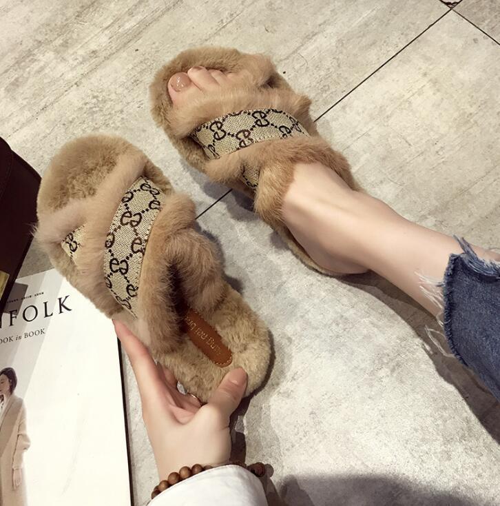 Vendere bene del nastro dei capelli del coniglio Scarpe Donna New Cross Furs Soffici Furry calzature outdoor casual pistoni piani inferiori Peloso pantofole Sandali