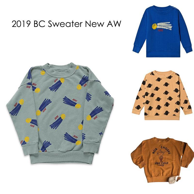 New Autumn Winter 2019 BC Brand Kids Sweaters Boys Girls Fashion Print Sweatshirts Baby Children Cotton Tops Clothes T200306