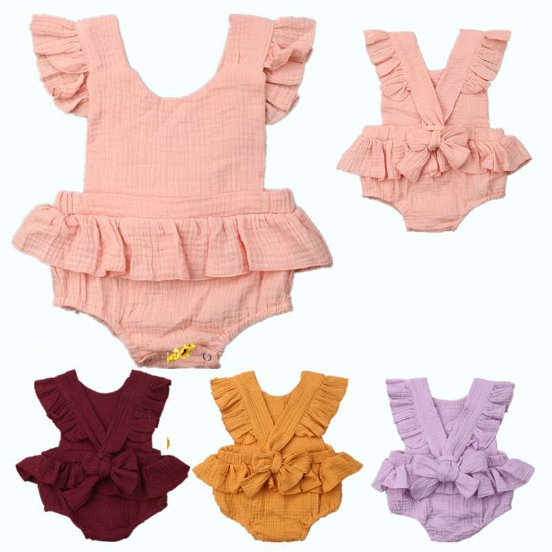 Newborn Baby Rompers Детские Комбинезоны Детская Одежда Сплошной Цвет Лето Ползунки Девушки Парни Ремень Лук Комбинезон Детская Одежда 70-100 см Лучший
