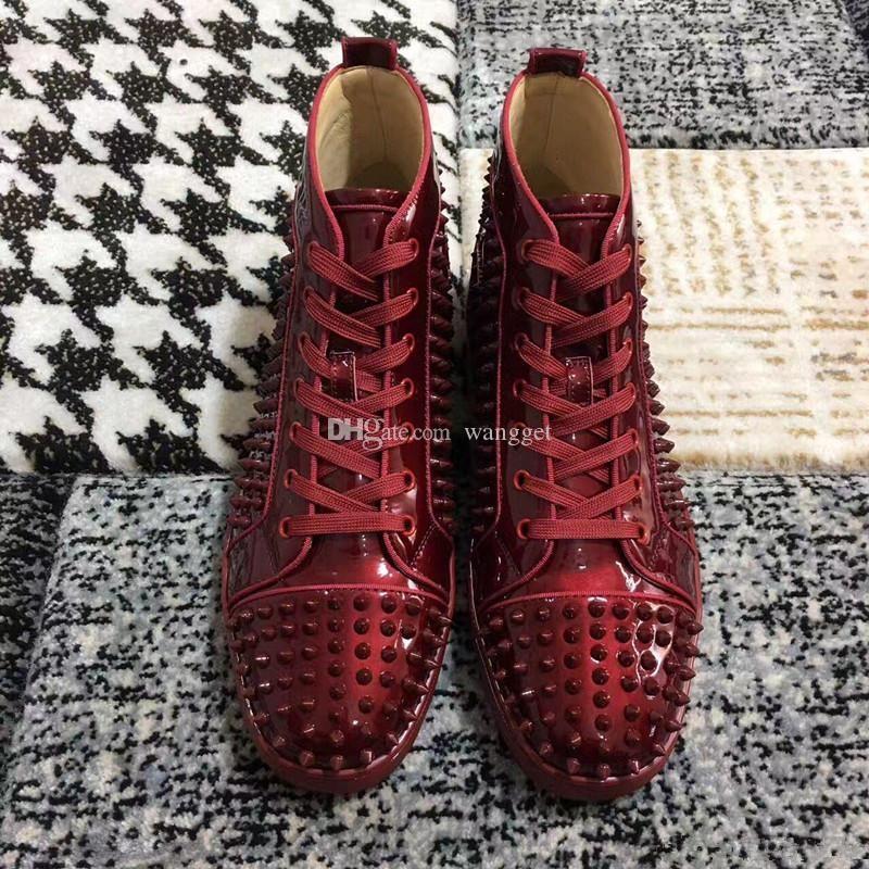 [Com Box, Original] Moda High Top Spikes For Men Red Sneakers inferior Shoes Vinho Vermelho de couro do banquete de casamento Casual Trainers baratos
