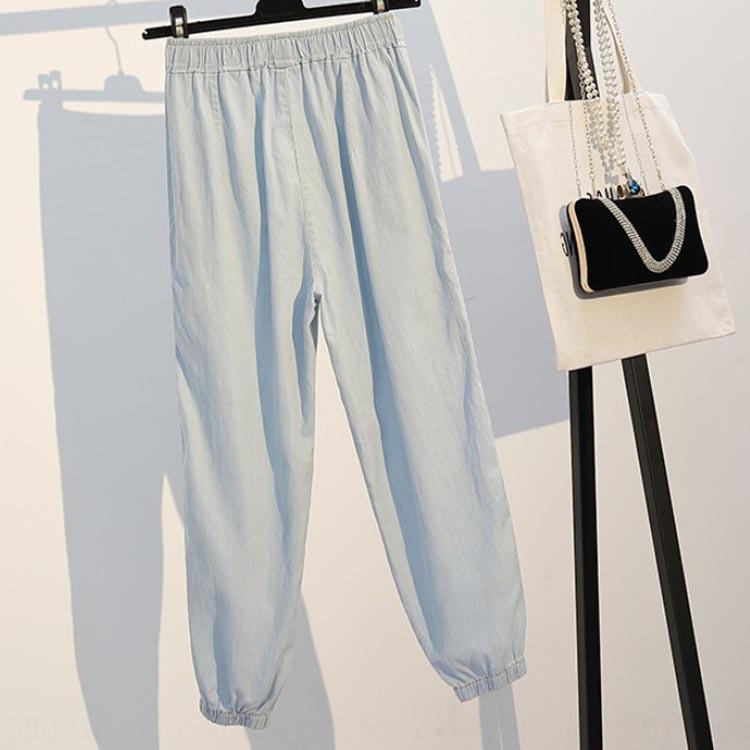 pantsJeans di formato di wyvSB bVKXi grandi donne 2020 grasso Estate MM200 Jin maglia accessori di abbigliamento Hollow i jeans del harem di nove punti pantaloni corti sportive casual di