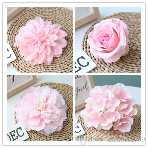 100pcs Pink Color Artificial Flower Head Wedding Rose Peony Hydrangea Bridal Bouquet Wedding Decoration DIY Home Party Fake Flowers
