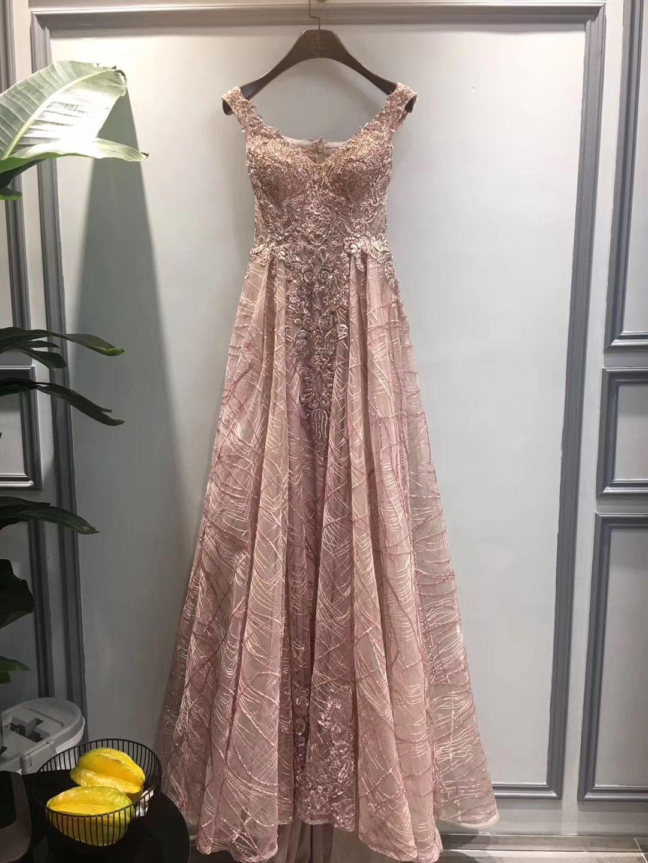 Imágenes reales Nuevo diseño Vestidos de fiesta sexy Encaje Apliques A Line V Neck 2019 Fiesta larga Vestidos de noche Vestidos de gala Vestidos de noche