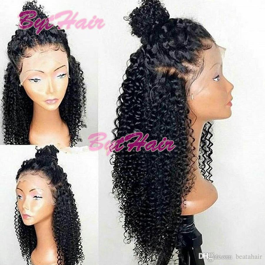 Bythair 레이스 프런트가 인간의 머리 가발 흑인 여성의 곱슬 레이스 프런트 가발 버진 헤어 전체 레이스 가발 아기 머리 표백 된 매듭