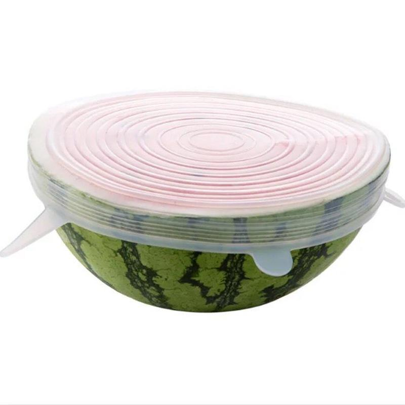 6pcs establecen reutilizables tapas de estiramiento de silicio silicona tapa envoltura alimentaria olla tazón de silicona tapa de cubierta recipiente de cocción tapones de cocina universales