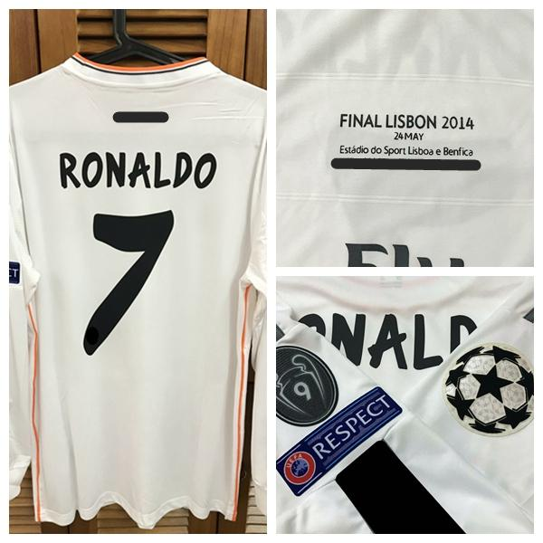 RUGBY ucl final 2014 Fans Version Shirt Jersey Long sleeves Ronaldo Bale Ramos Football Rugby Custom Patches Sponsor
