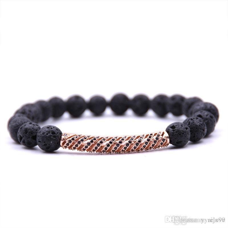 2018 Nuevo Micro Pave CZ perlas de circón cúbico Yoga encanto de la pulsera de los brazaletes Rose pulsera de oro Curva Energía pulsera de cuentas