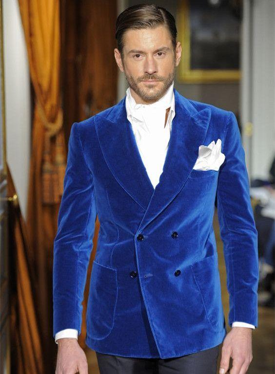 Fashion Bespoke Men Suit Set For Wedding Prom Dinner (Jacket+Pants) Blue Velvet Mens Suits Groom Best Man Blazers Costume Homme