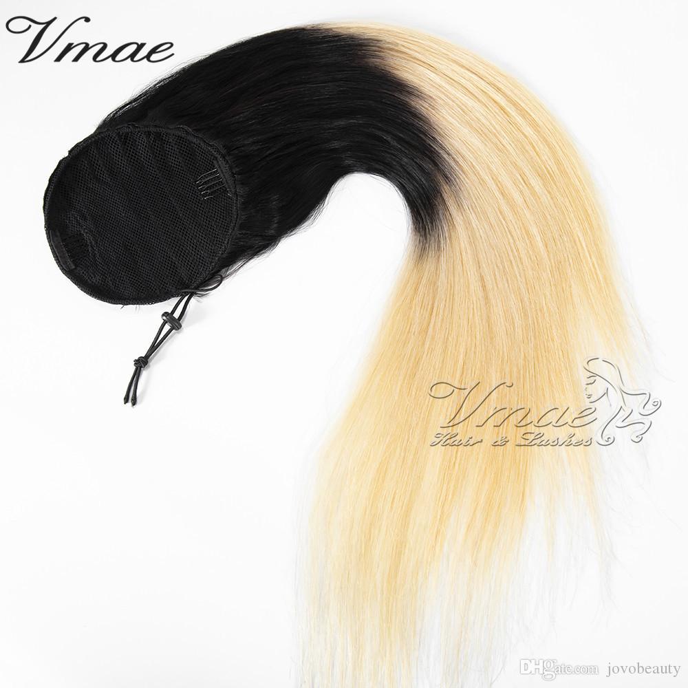 Peruviano Vergine cuticola Allineati Coda di cavallo fascia elastica coulisse nero 1B / 613 Biondo Ombre Colore clip diritta nelle estensioni dei capelli umani