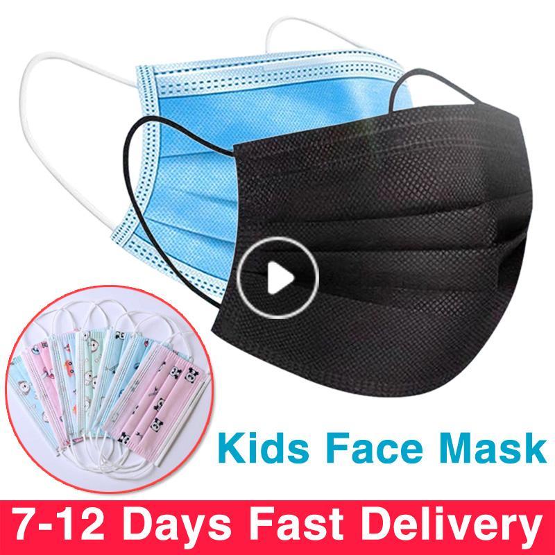 Enfants enfants Masque Masque Noir Tissu Meltblown 3 plis non tissé à usage unique masque facial 3 couches anti-poussière enfants masque visage noir bleu