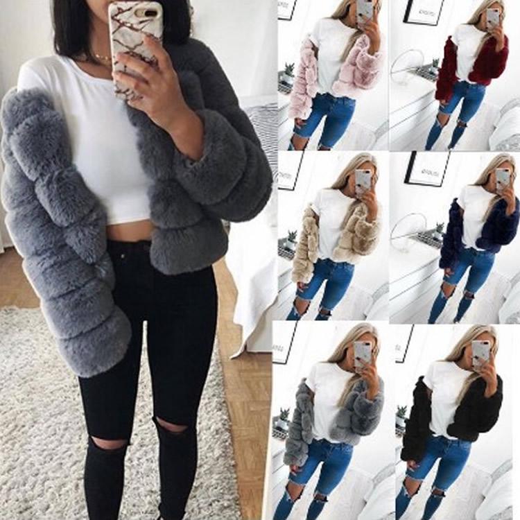 Женщины искусственные шубы мода искусственного меха элегантный сгущает теплая верхняя одежда искусственная куртка Casaco Feminino Большой размер 4xl