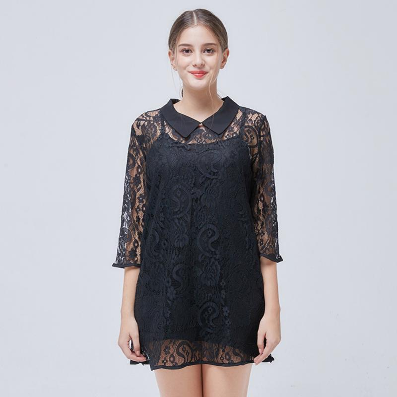 Large Size Women's Lace Dress Cutout Two-piece Three Quarter Sleeves Sexy Shirt Dresses Black Mini Women Plus Size Dress TA9543