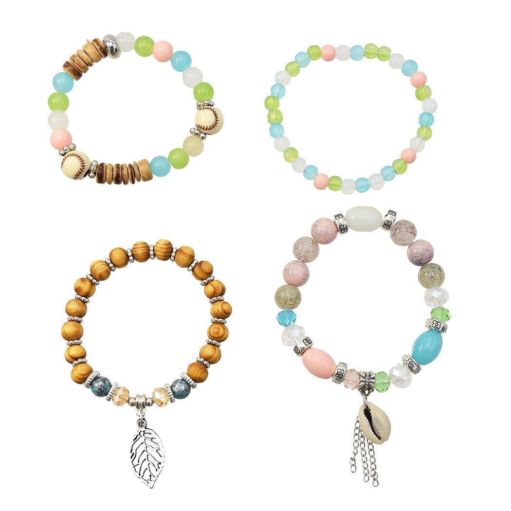 مجموعات البوهيمي تكويم الخشب شل الخرزة أساور للنساء تمتد متعدد الطبقات سوار مجموعة متعدد الألوان المجوهرات