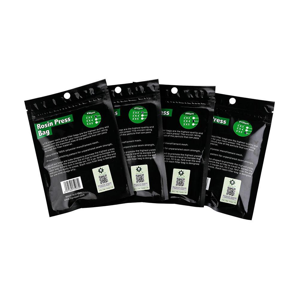 """Bolsas de filtro de malla de nylon de prensado de litio auténticas LTQ Vapor 2 """"x4"""" 2x3 """"3x5"""" pulgada Tamaño 36 72 90 120 micrones de malla de nylon"""