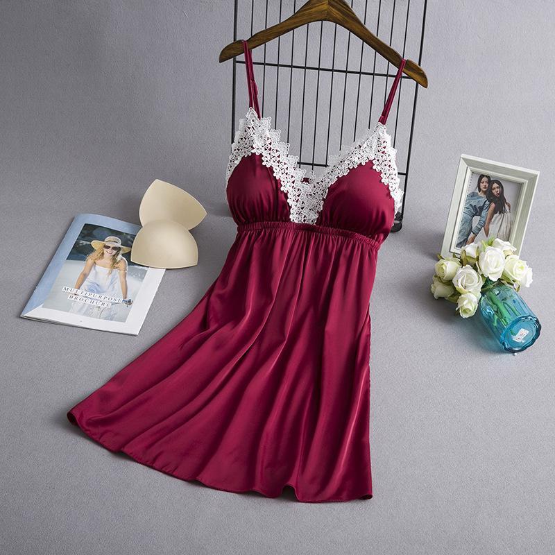 2020 ropa de noche de seda del verano de las mujeres camisones de encaje satinado Camisón atractivo de la ropa interior del sueño Salón Camisón con el pecho de pads