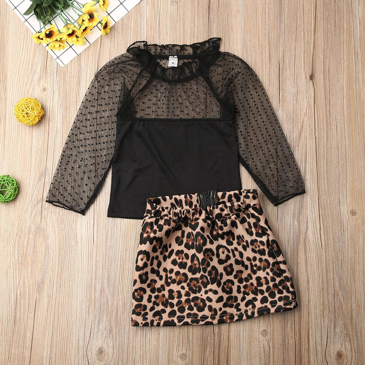 1-6 Years Toddler Kids Baby Girls Clothes Set Leopard Printed Ruffles Mesh Lace Tops T Shirt+Skirt Tracksuit Outfits