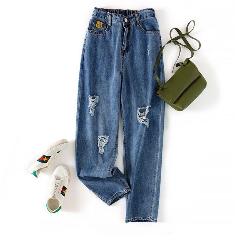 Nuovo Arriva Denim Harem Pants Donna Jeans Elastico In Vita Boyfriend Style Tenere Blu Scuro Allentato Vintage Denim Pantaloni Femminili