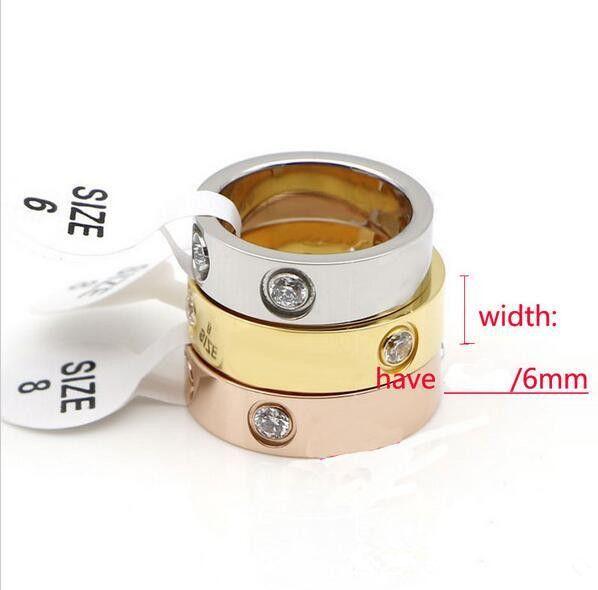 Hot vente titane en acier inoxydable amour anneaux pour les couples de bijoux Femmes Hommes zircons Anneaux de mariage Logo de 6 mm Femme Bague