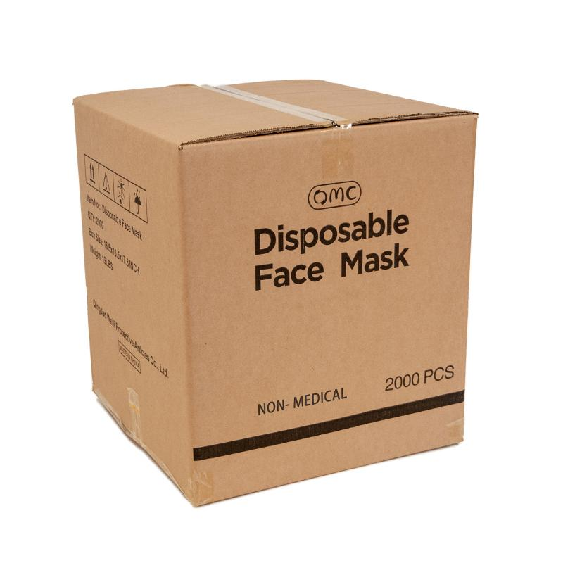 2000pcs / boîte OMC en stock dans l'entrepôt aux États-Unis en gros jetables 3 plis faceshield Earboop Facem masque 3 plis masque de visage jetable