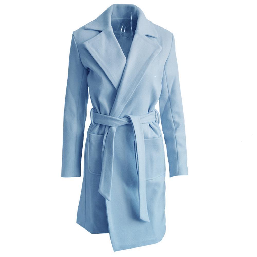 Kennancy Winter Feste Frauen Woolen Mantel Abzugskragen Lange Ärmel Weibliche warme Jacke Lace-up Taschen Feminina Lange Oberbekleidung