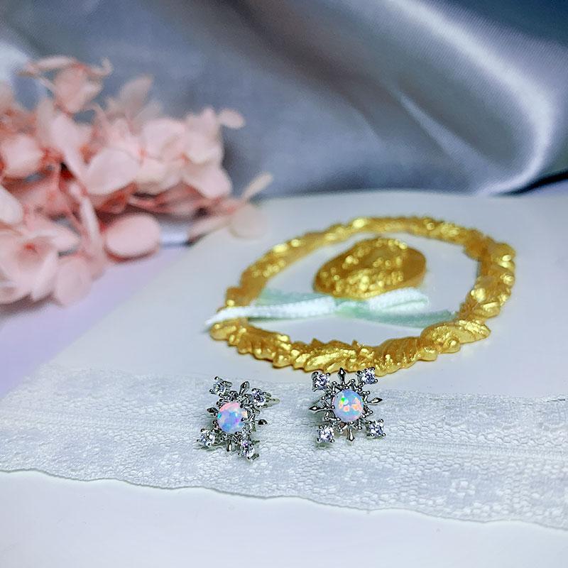 Sweet zircon snowflake earrings s925 Sterling silver earrings for women
