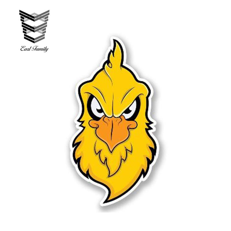 wholesale 20pcs/lot Car Sticker Angry Chicken Head Decal Funny Car Styling Cartoon Animal Vinyl Graphic Waterproof Decals 13cm x 6.5cm