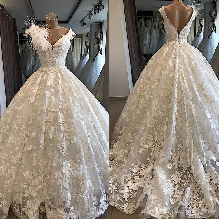 Princess Ball Gown Wedding Dresses White Feather Flower Lace