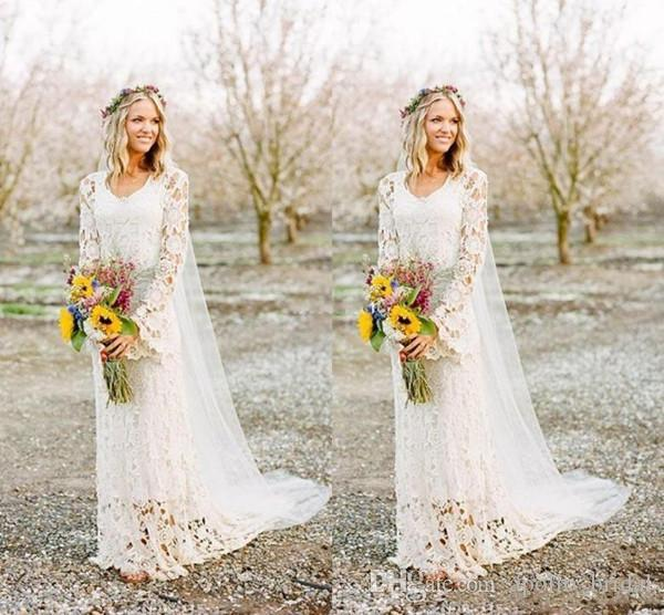 2020 Country Wedding Dresses A Line Jewel Long Sleeve Full Lace Sweep Train Bridal Gowns With Cape