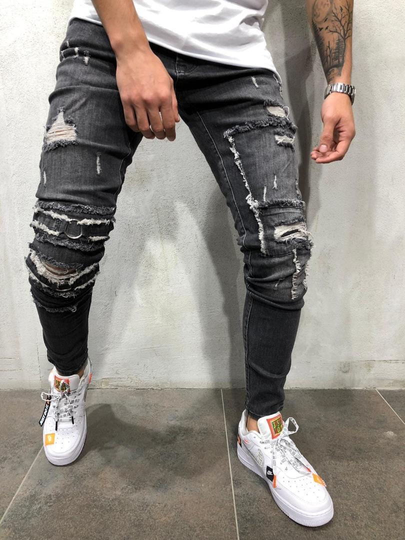 Hose Slim Fit Bleistift Designer Frühling dünne Denim-Jeans Biker Hiphop Skateboard Jean Pants Mens Black Pencil
