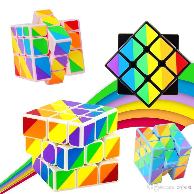 Eşitsiz Sihirli Küp Bulmaca Oyunu Oyuncaklar Yetişkin ve Çocuk Renkli Öğrenme Eğitim Hediyeler Sihirli Küp oyuncak 3x3x3