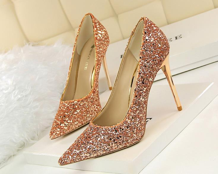 Sexy sequins bridal wedding shoes fashion 9.5cm stiletto heel pointed toe lady party dress pumps 8 colors 9219-1