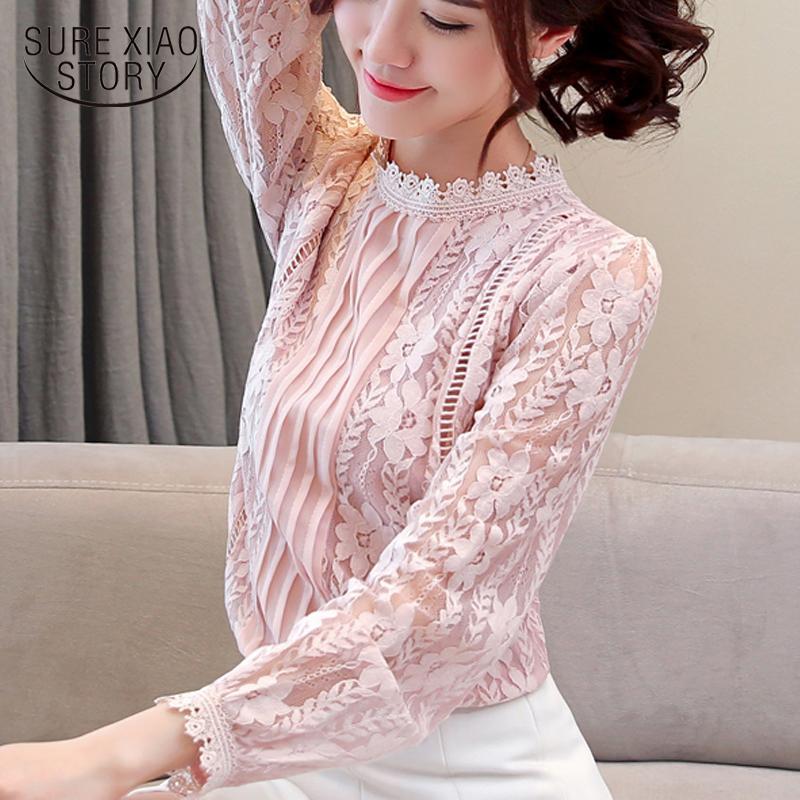 las mujeres forman la blusa 2019 de impresión sólido del cordón de las mujeres camisas de manga larga blusa blanca elegantes tapas blusas huecos 1991 50
