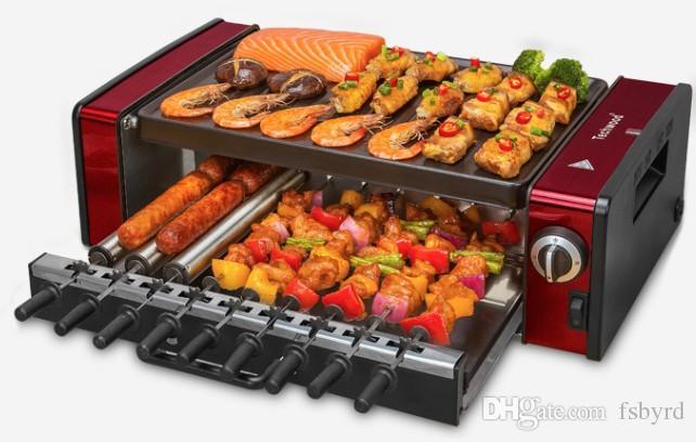 Double-layerelectric doméstico forno churrasqueira elétrica churrasqueira máquina de kebab cachorro quente pan 010