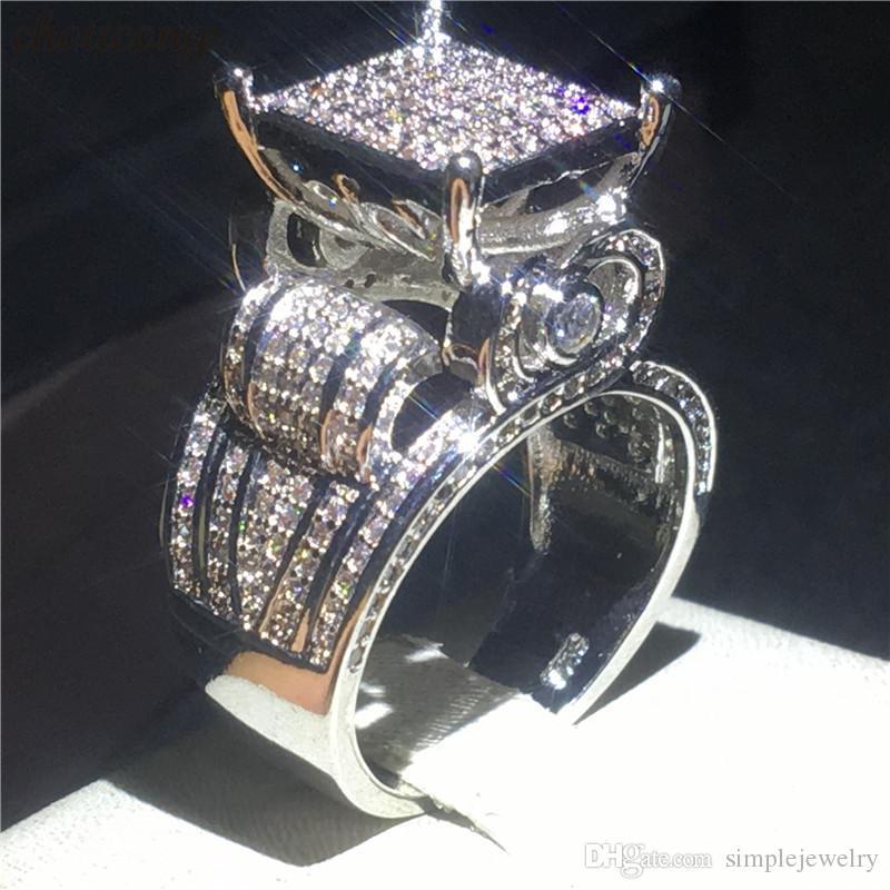 Choucong ديلوكس وعد الدائري 925 فضة تمهيد إعداد الماس الاشتباك باند خواتم للنساء الرجال مجوهرات الزفاف هدية