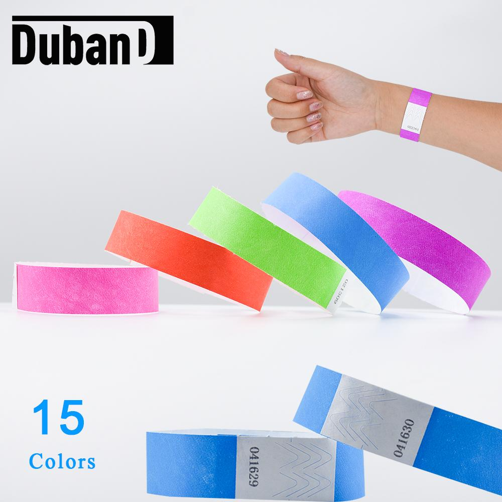 100 Pcs 3/4 Inch Tamper-Proof Waterproof Tyvek Wristbands with Serial Number Identification Mark Bracelet for Events and Party