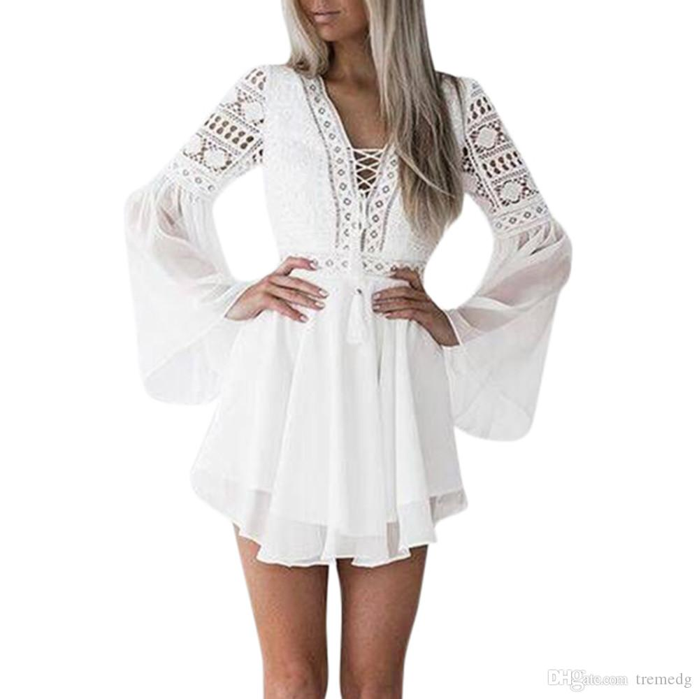 2020 New Summer Women new Girls White Summer Bohemian Mini Dress Women Fashion Spring Solid White Mini Lace Casual Clothes V-neck Long
