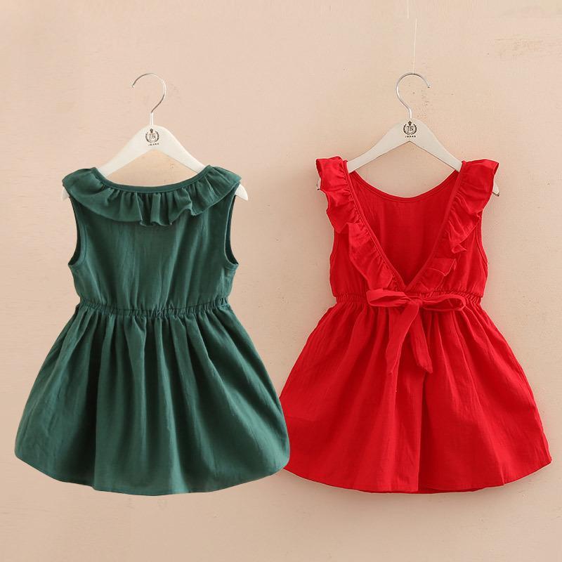2018 Summer 2 3 4 6 8 10t Years Children Birthday Backless Princess Elegant Bow Party Dance Prom Little Girls Kids Summer Dress MX190724