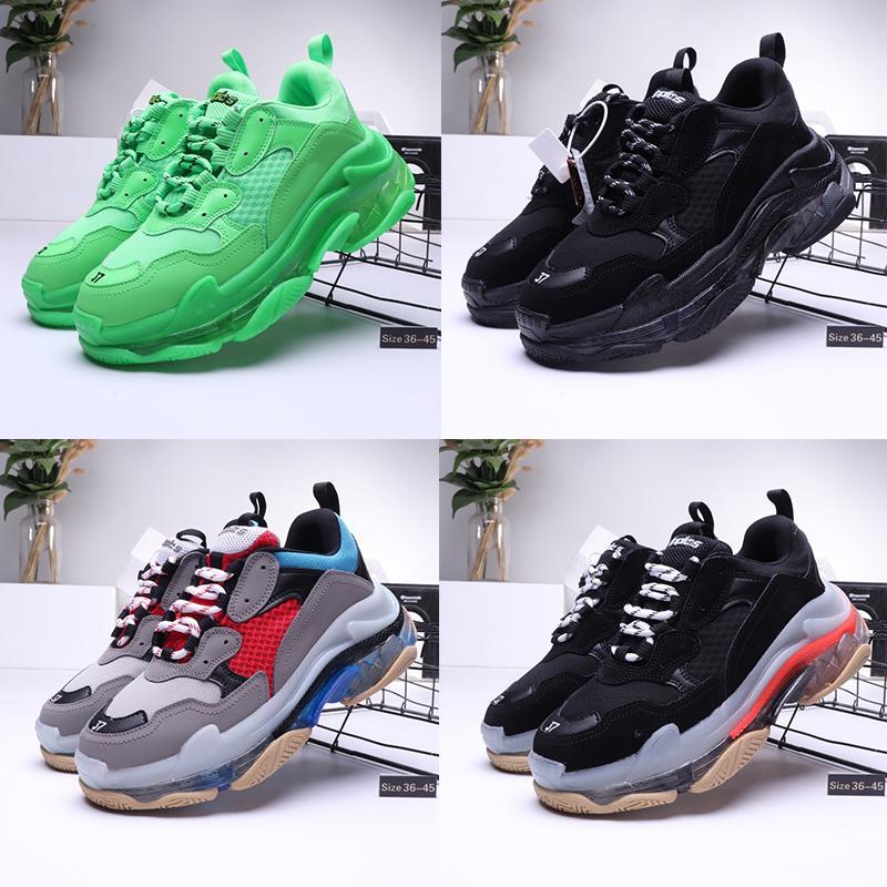 Yeni Markası Günlük Ayakkabılar Üçlü S Temizle Kabarcık Orta taban Üçlü Siyah Yeşil Erkekler kadınlar Günlük Ayakkabılar Platform spor Sneakers Eğitmenler